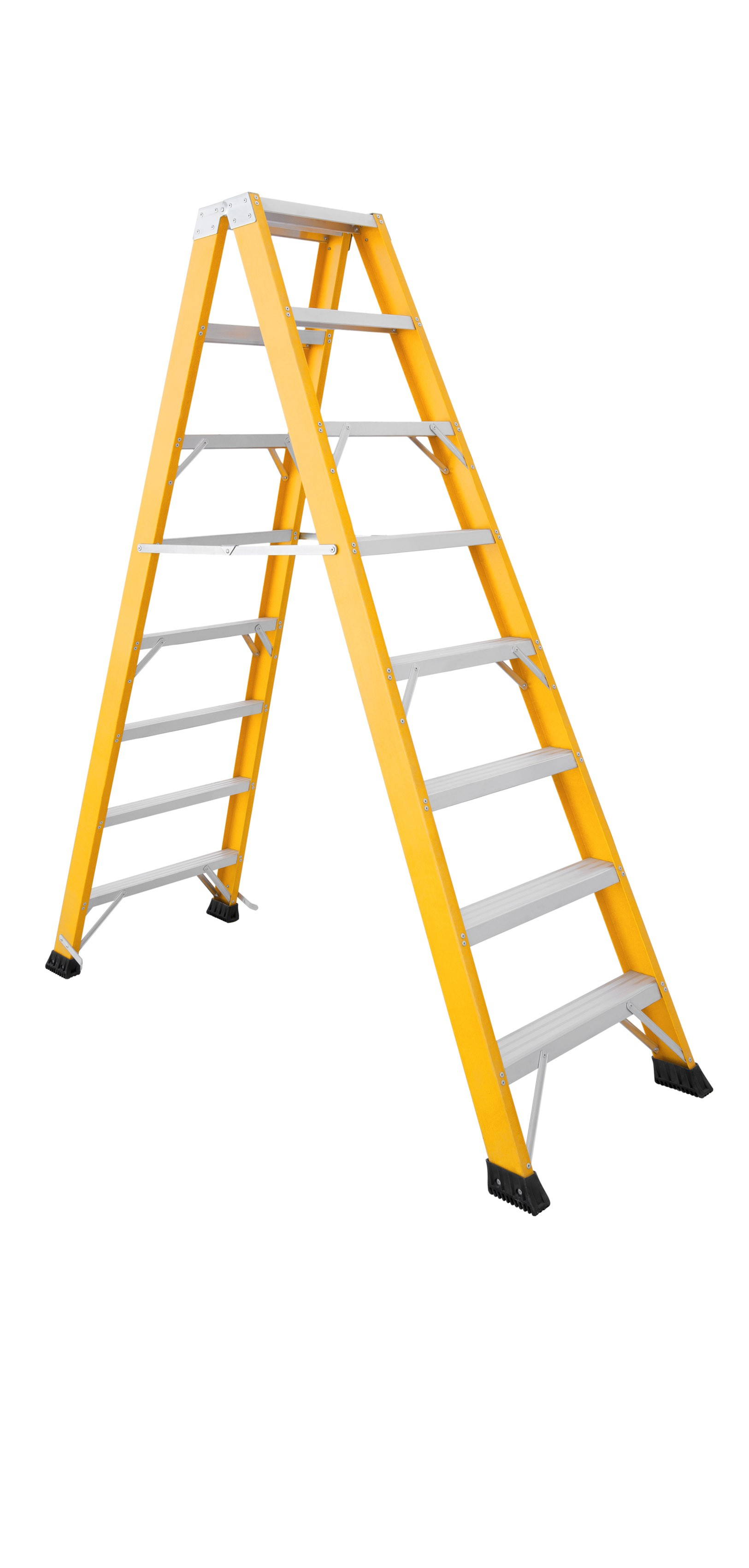 Fibreglass Double-sided Ladder With Extra-wide Aluminium Treads