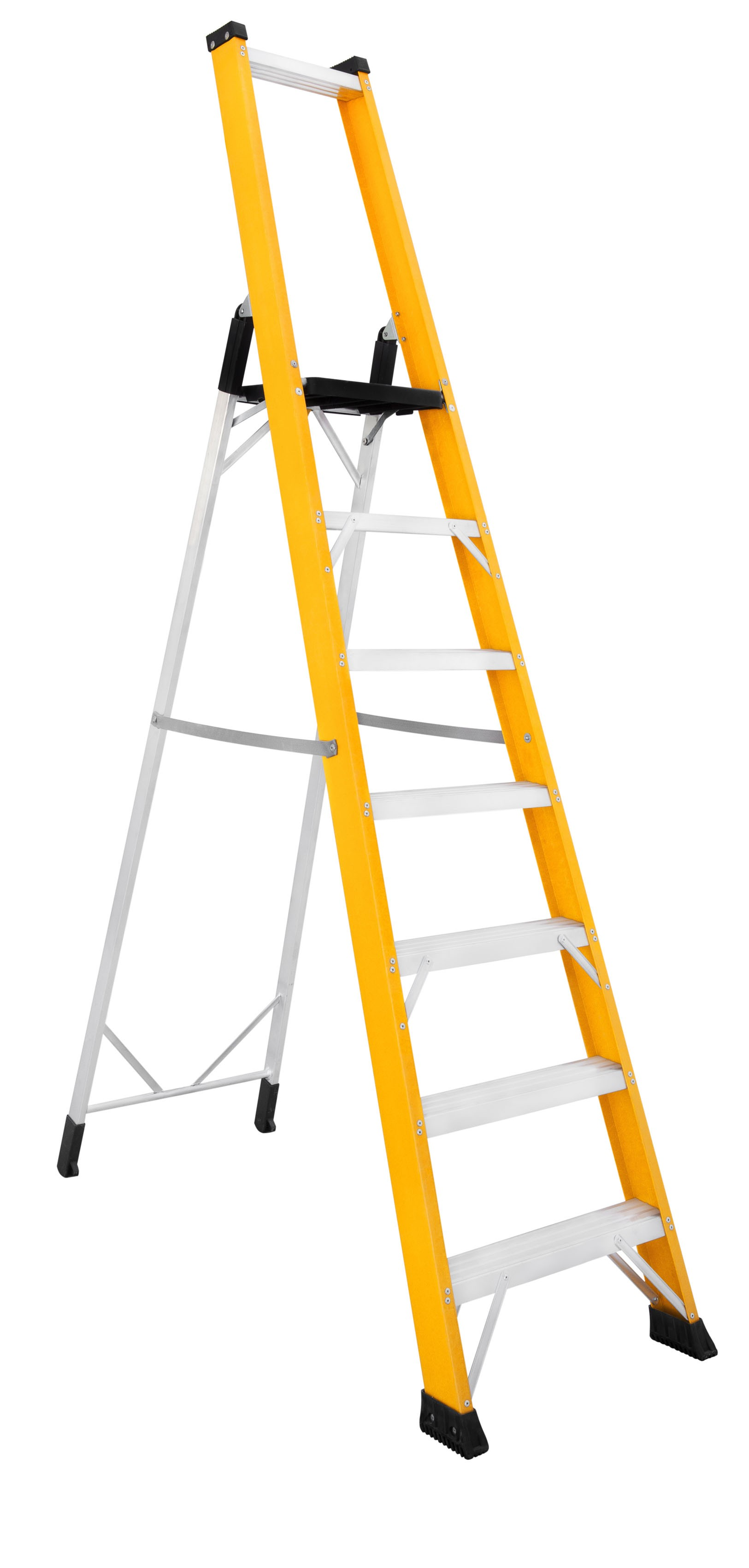 Fibreglass Double-sided Stepladder With Platform And Wide Aluminium Treads