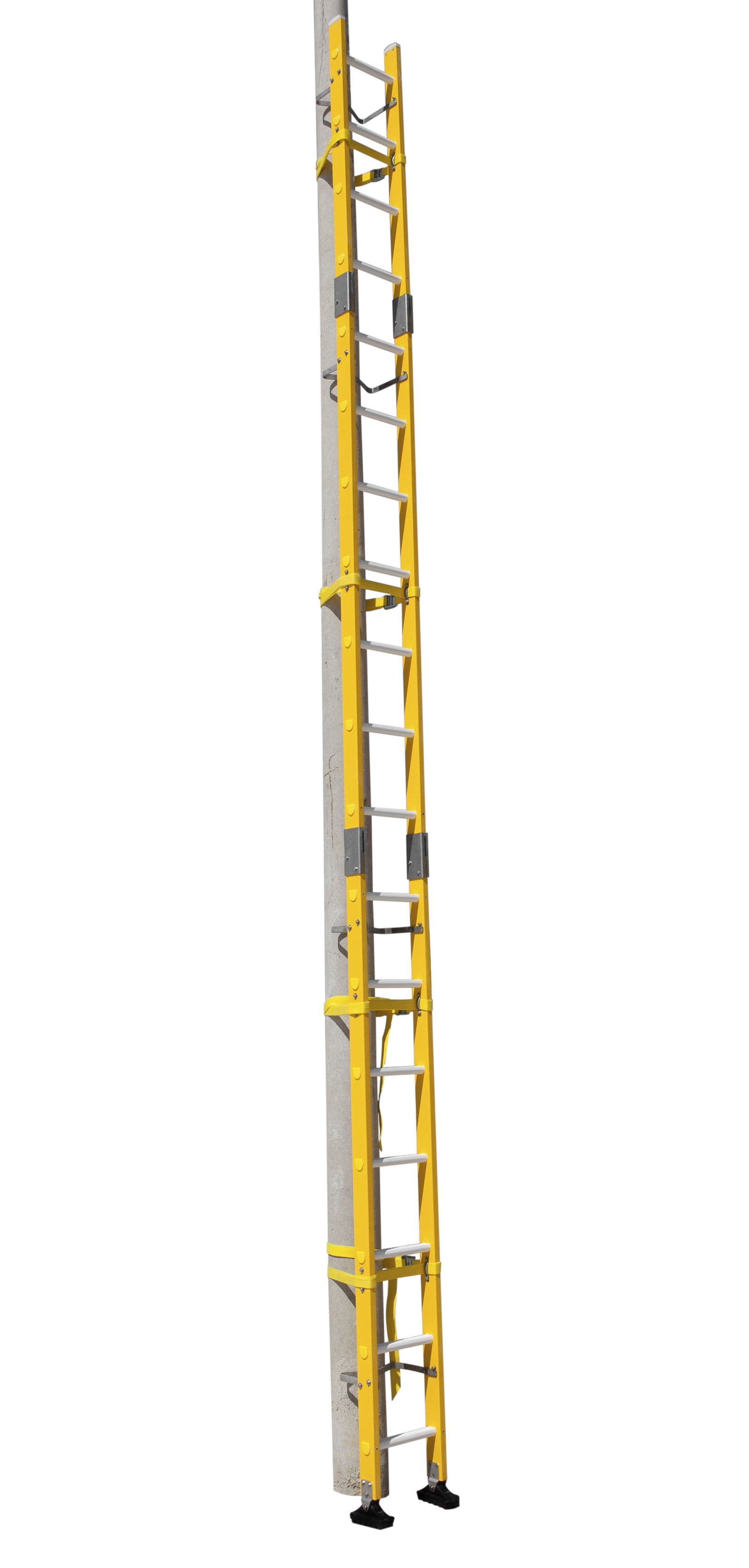 FIBREGLASS LADDER WITH PLUG-IN SECTIONS FOR POLES