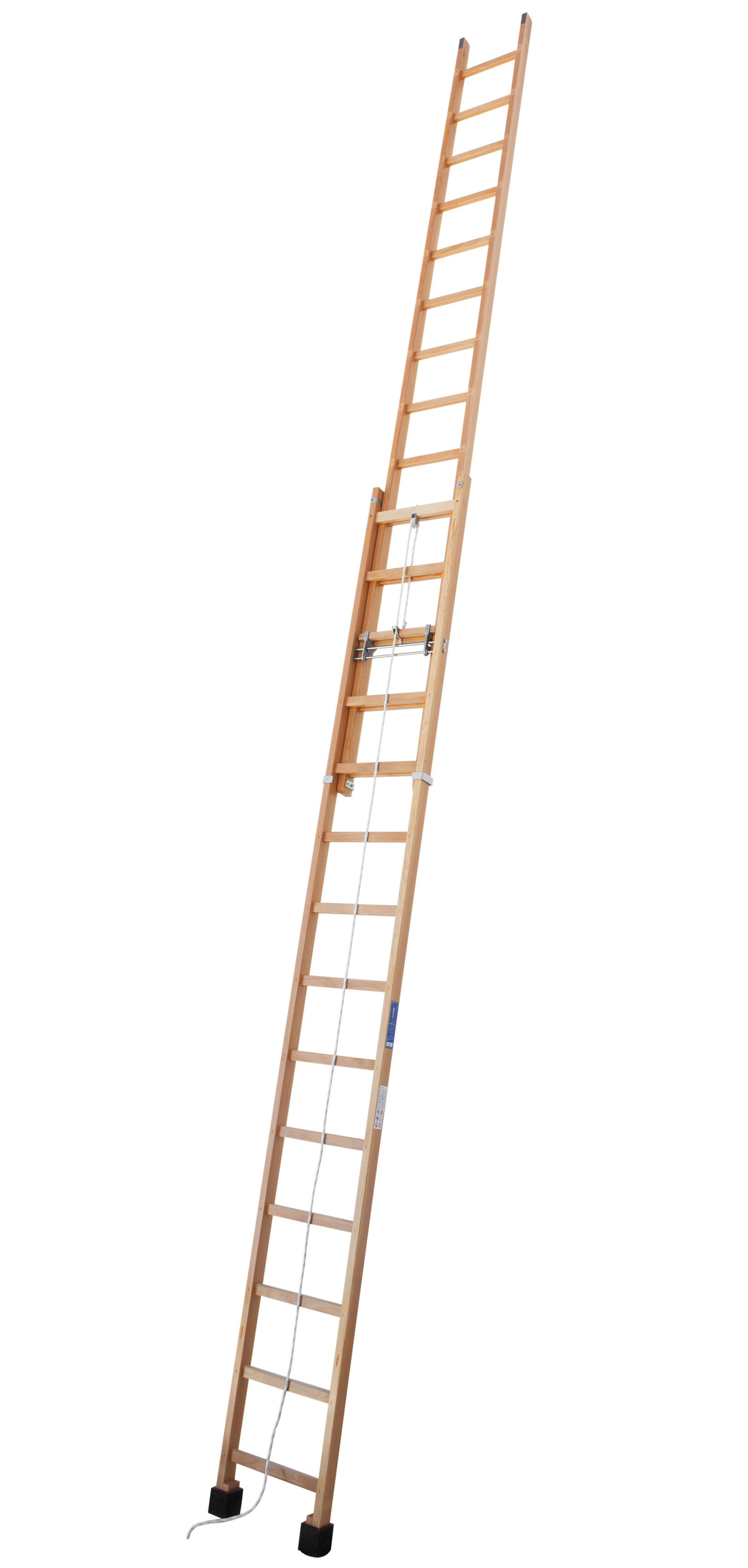Rope-operated Timber Extension Ladder