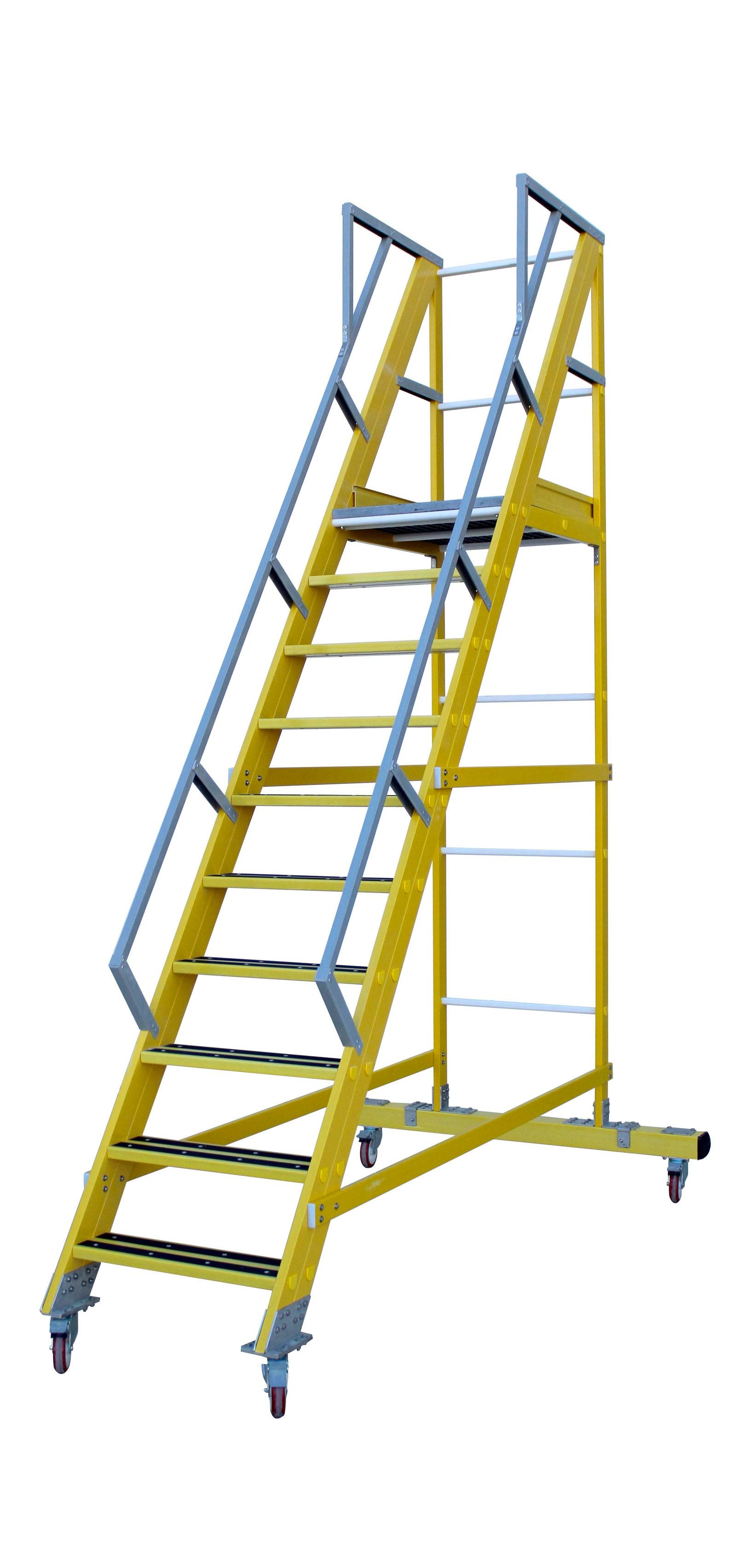 Bespoke Fibreglass Rolling Platform Ladder