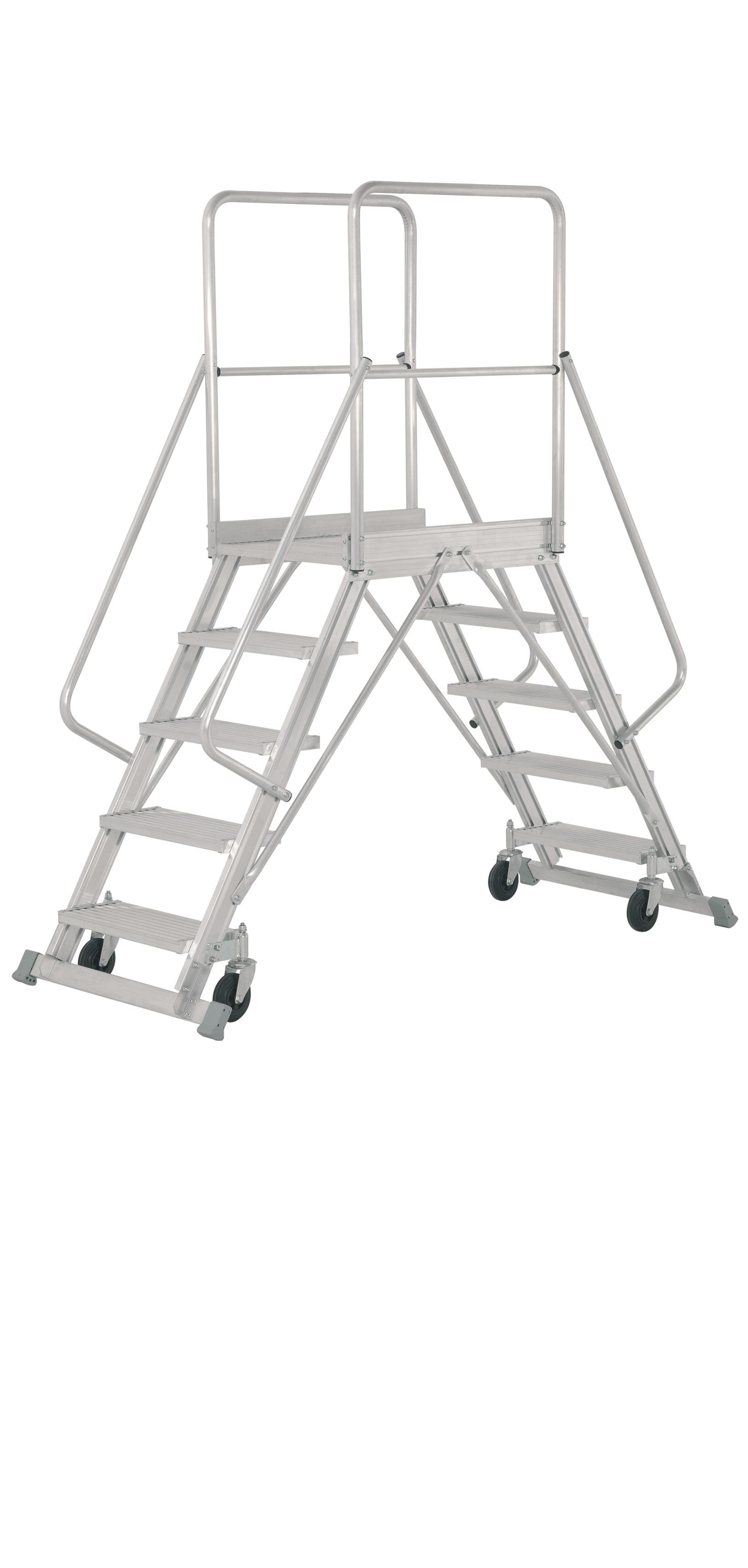 Aluminium  Double-sided Rolling Platform Ladder