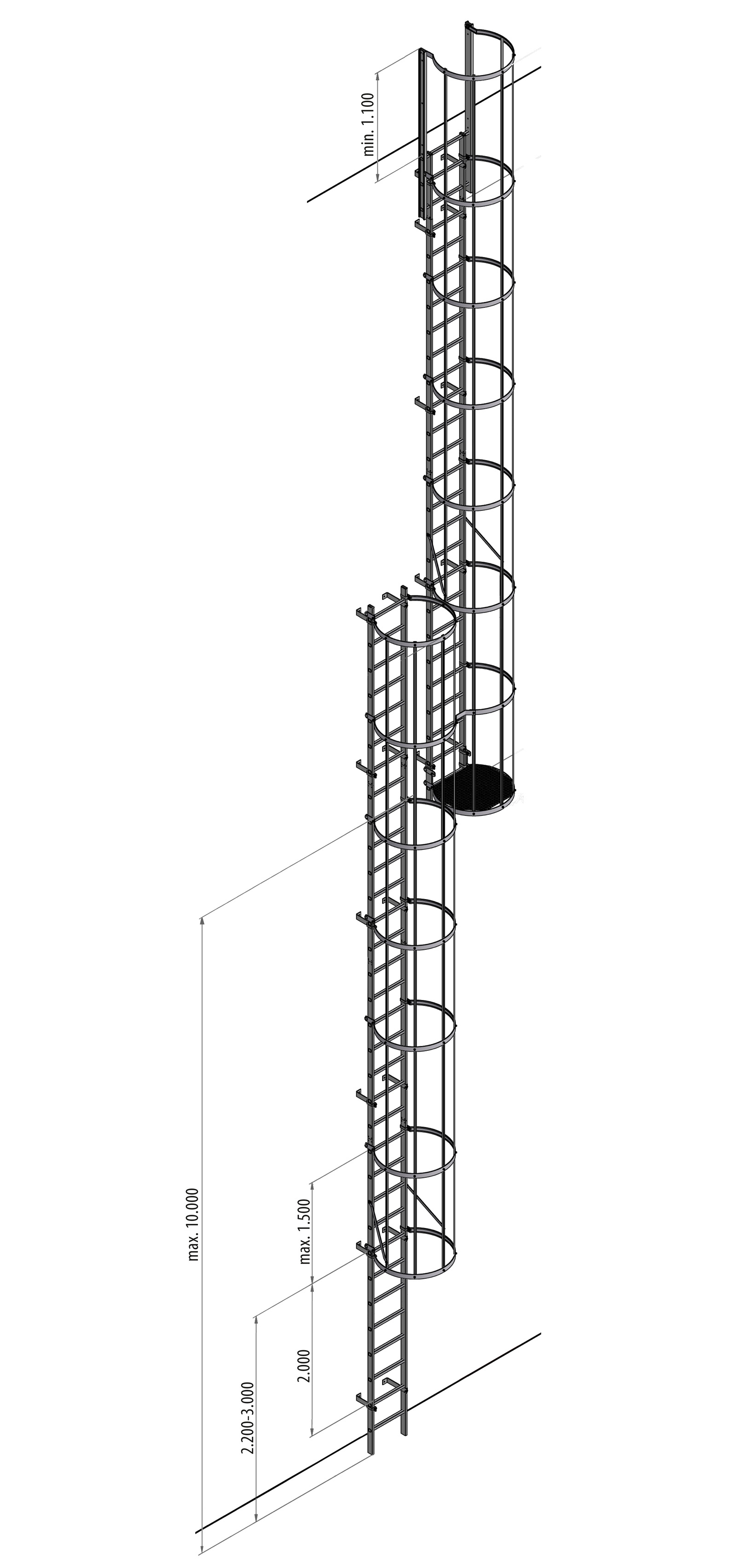 Aluminium Fixed Vertical Ladders
