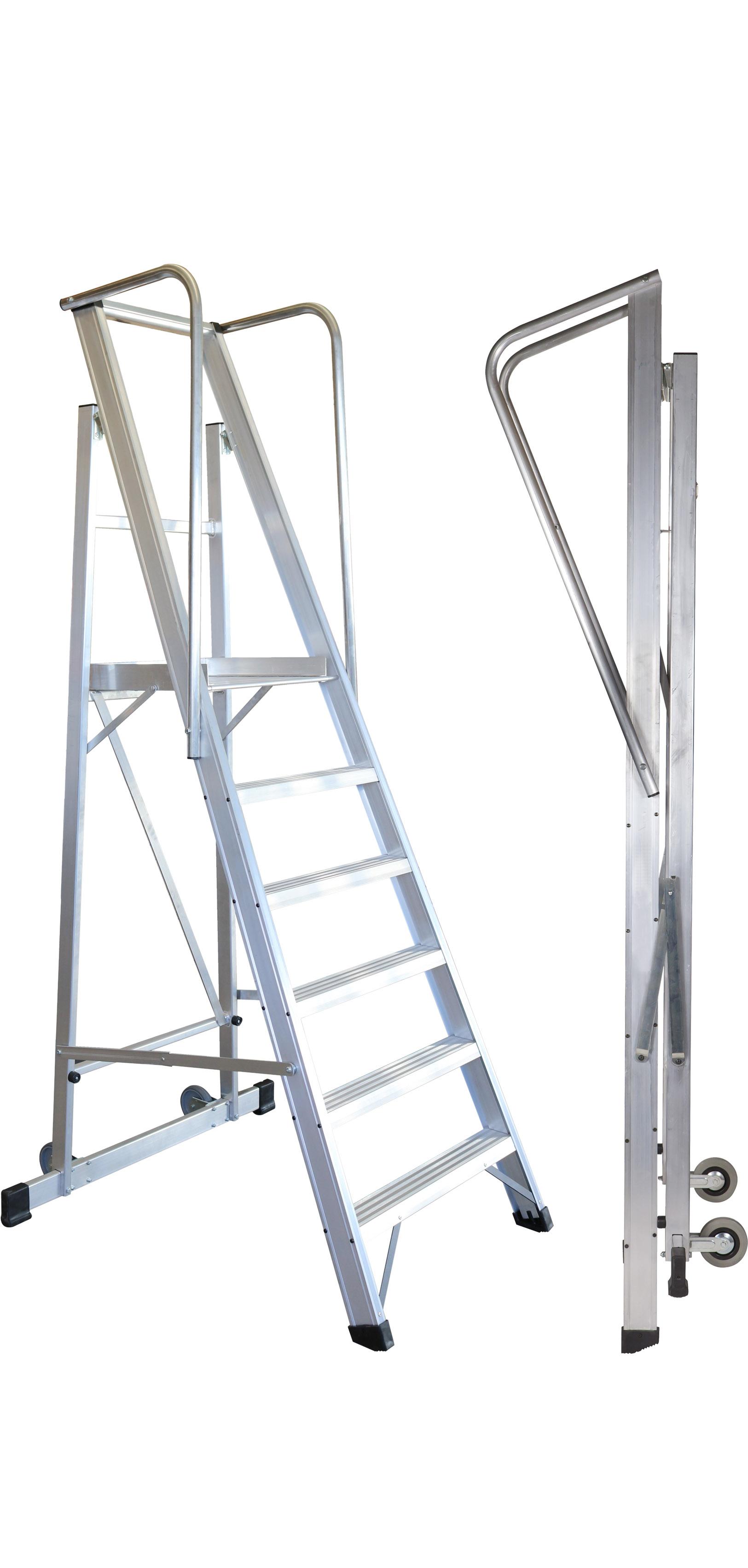 Aluminium Folding Rolling Platform Ladder