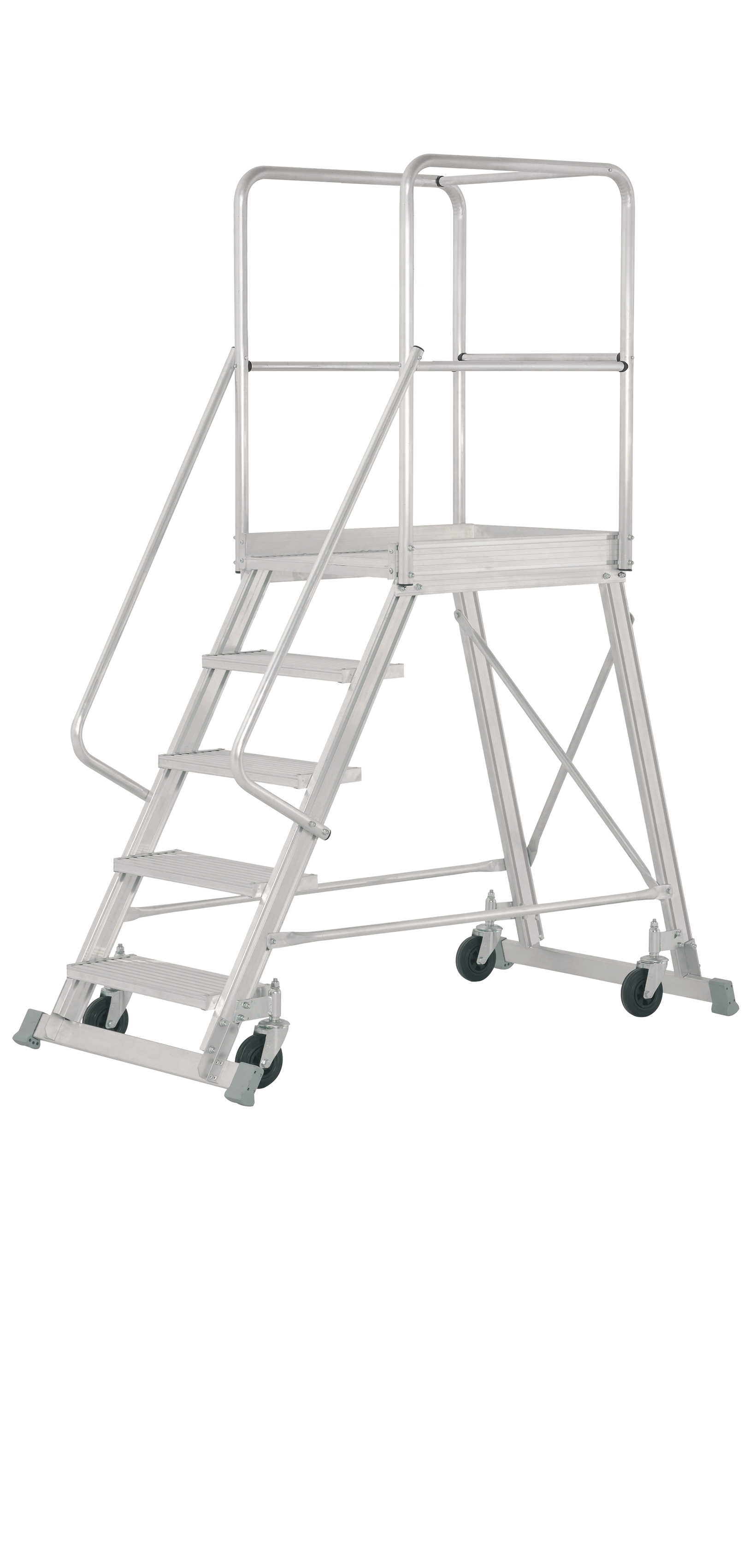 Aluminium Folding Rolling Platform Ladder Escaleras Arizona
